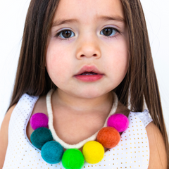 Pastel Rainbow Felt Pompom Necklace