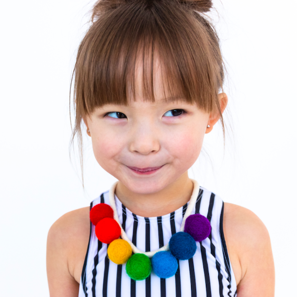 Primary Rainbow Felt Pompom Necklace