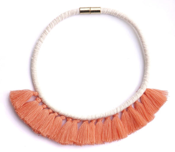 Living Coral Tassel Necklace