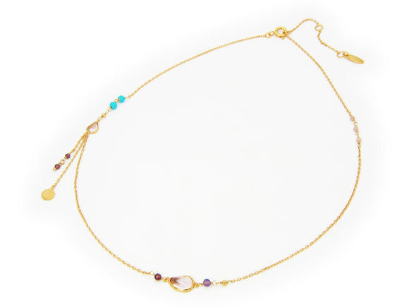 Eclectic Design Amethist  Turquoises  Garnets Rose Quartz Beads  Silver Gold Plated Necklace