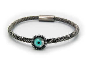 Gunmetal Evil Eye Bracelet in 925 Sterling Silver