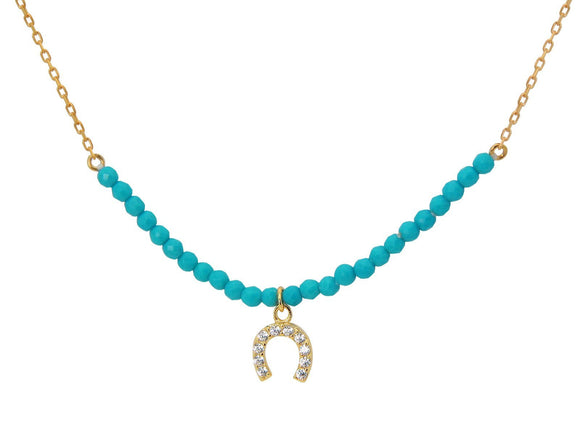 Silver Gold Plated Center Turquoise Beads Cz Horseshoe Charm 16
