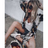 Women Chiffon Kimono Cardigan Floral Printed Long Sleeve Blouse Summer Beach Cover Up Long Tops Boho Loose Ladies Shirts Blusas
