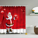 Christmas Waterproof Polyester Bathroom Shower Curtain Decor With Hooks