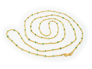 Gold Plated Silver Beads & Jade Necklace, 42""