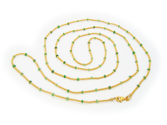 Gold Plated Silver Beads & Jade Necklace, 42