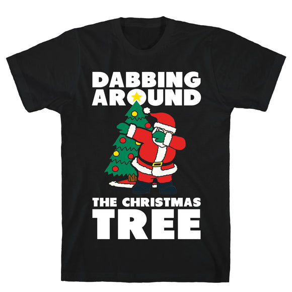 Dabbing Around The Christmas Tree Black Unisex Cotton Tee by LookHUMAN