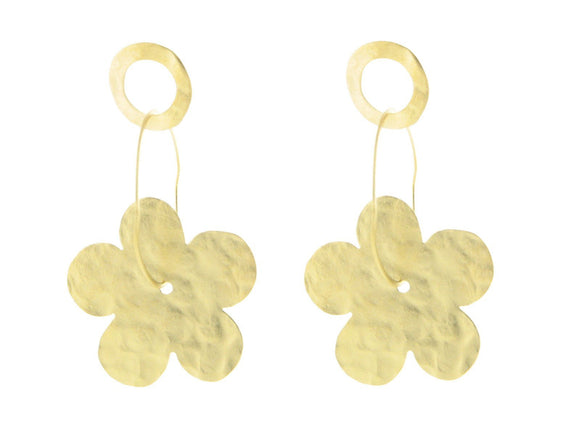 Hammered Gold Flowers & Rings Earrings in Sterling Silver