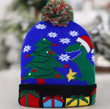 OurWarm Led Light Cotton Christmas Hat Knit Up Beanie Hat Kids Adult Children Cap Christmas Party Decoration New Year Gifts