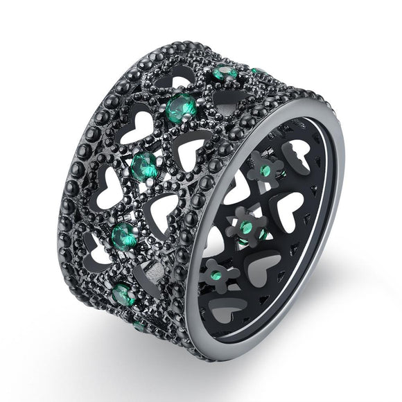 18K Black Plated Double Heart Row Centric Green Emerald Swarovski Crystals Ring