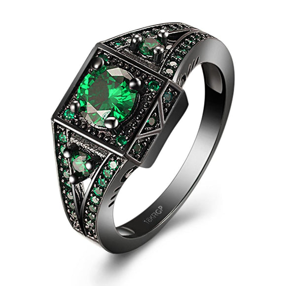 18K Black Plated Green Emerald Swarovski Crystals Vintage Look Inspired Ring