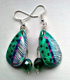 Green Wide Spinner Earrings