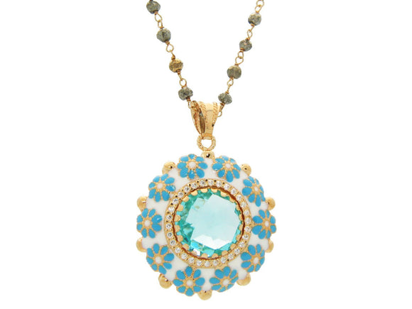 Fronay Co .925 Sterling Silver Antique Enamel Aqua Crystal Necklace