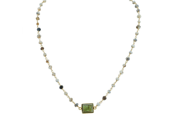 Labradorite & Agate Stone Necklace