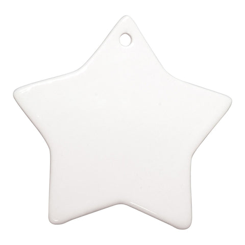 "3"" Star Print on Demand Ceramic Ornament with Gift Box"
