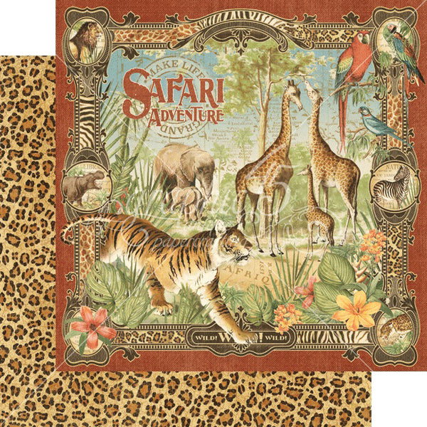 Graphic 45 SAFARI ADVENTURE 12x12 Scrapbook Cardstock Paper - Safari Adventure