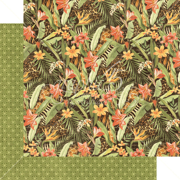 Graphic 45 SAFARI ADVENTURE 12x12 Scrapbook Cardstock Paper - Lush Landscape