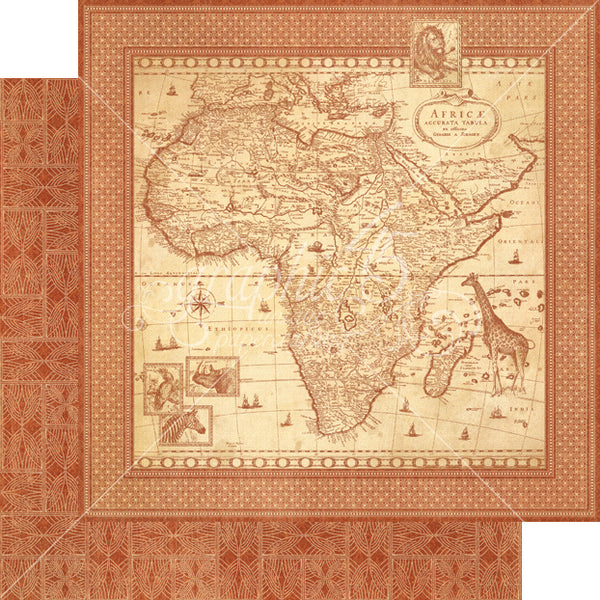 Graphic 45 SAFARI ADVENTURE 12x12 Scrapbook Cardstock Paper - Journey of a Lifetime