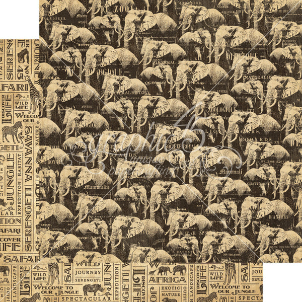 Graphic 45 SAFARI ADVENTURE 12x12 Scrapbook Cardstock Paper - Great Migration