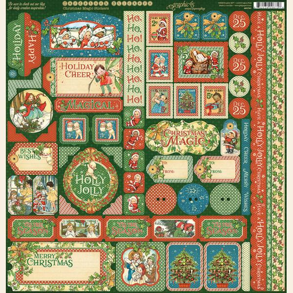 Graphic 45 CHRISTMAS MAGIC 12x12 Sheet of Cardstock Stickers