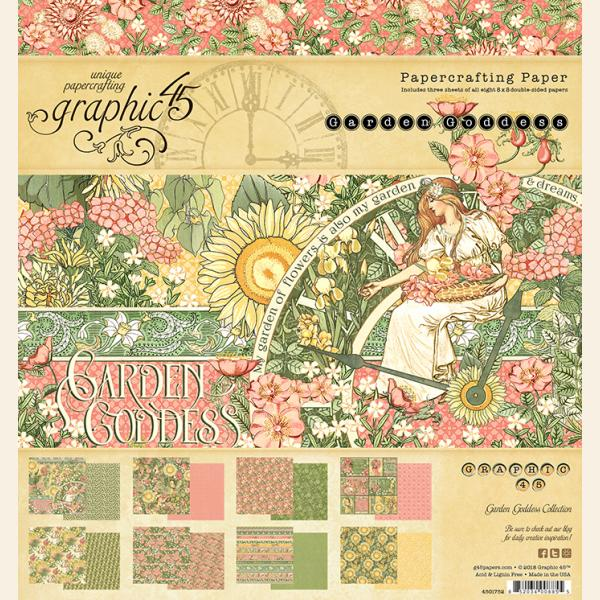 Graphic 45 GARDEN GODDESS 8x8 Double-Sided Scrapbook Paper Pad