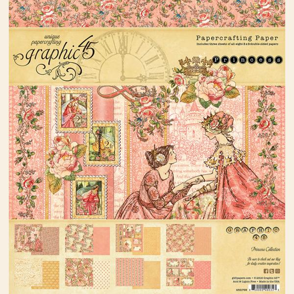 New! Graphic 45 PRINCESS 8x8 Double-Sided Scrapbook Paper Pad