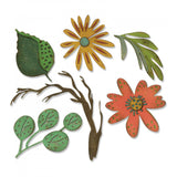 New! Sizzix Tim Holtz Thinlits Die Set 6PK - Funky Floral, Large