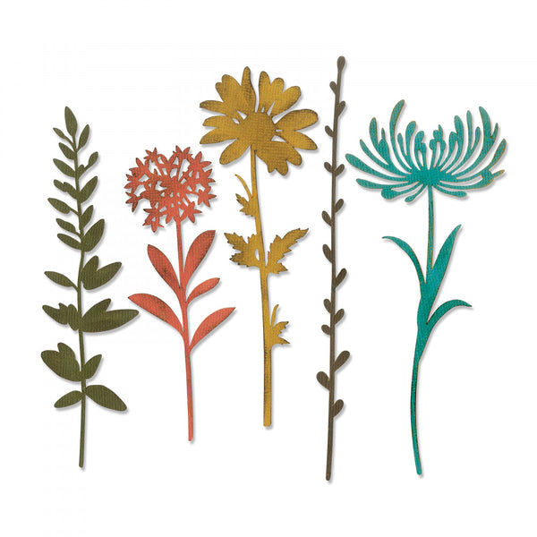 New! Sizzix Tim Holtz Thinlits Die Set 5PK - Wildflower Stems #1