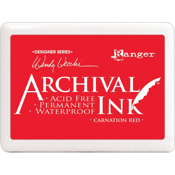 New! Ranger Wendy Vecchi JUMBO SIZE Archival Ink Pad - Carnation Red