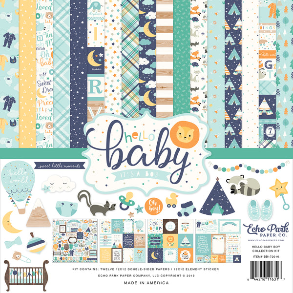 New! Echo Park Paper HELLO BABY BOY 12x12 Scrapbook Paper Collection Kit