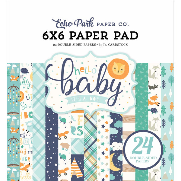New! Echo Park Paper HELLO BABY BOY 6x6 Scrapbook Paper Pad