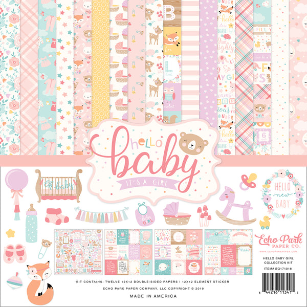 New! Echo Park Paper HELLO BABY GIRL 12x12 Scrapbook Paper Collection Kit