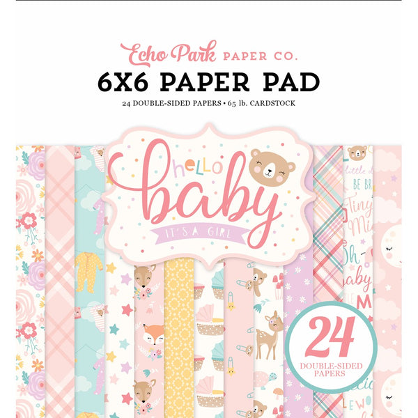 New! Echo Park Paper HELLO BABY GIRL 6x6 Scrapbook Paper Pad