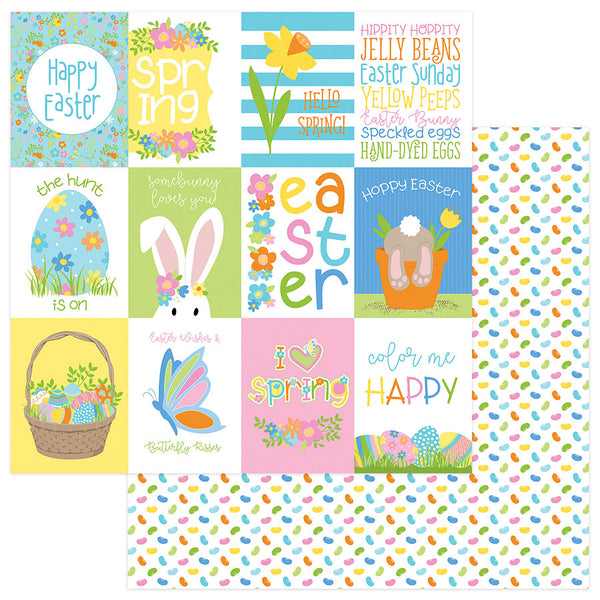 New! Photo Play BUNNY TRAIL 12x12 Easter Theme Scrapbook Cardstock Paper - Hoppy Easter