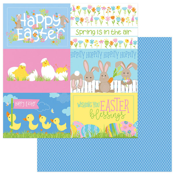 New! Photo Play BUNNY TRAIL 12x12 Easter Theme Scrapbook Cardstock Paper - Hippity Hoppity
