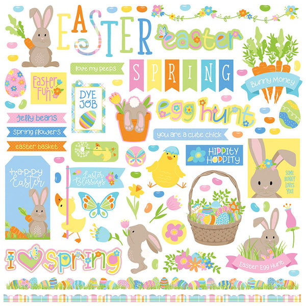 New! 12x12 Sheet of Photo Play BUNNY TRAIL Easter Theme Scrapbook Element Stickers