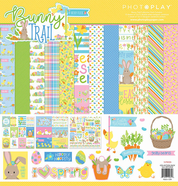 New! Photo Play BUNNY TRAIL 12x12 Easter Theme Scrapbook Paper Collection Kit