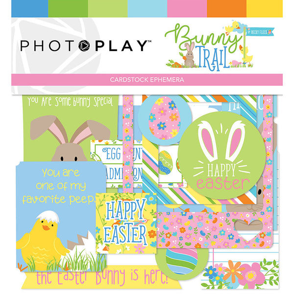 New! Photo Play Paper BUNNY TRAIL Ephemera Die Cuts