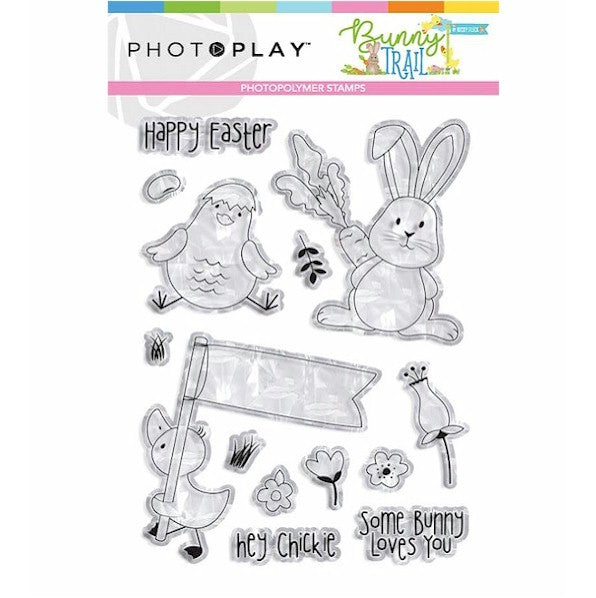 New! Photo Play BUNNY TRAIL Easter Theme Clear Polymer Stamp Set