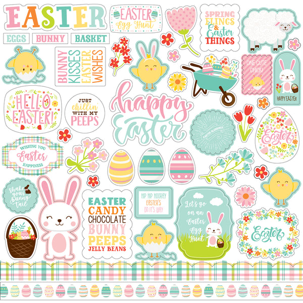 New! 12x12 Sheet of Echo Park Paper EASTER WISHES Scrapbook Element Stickers
