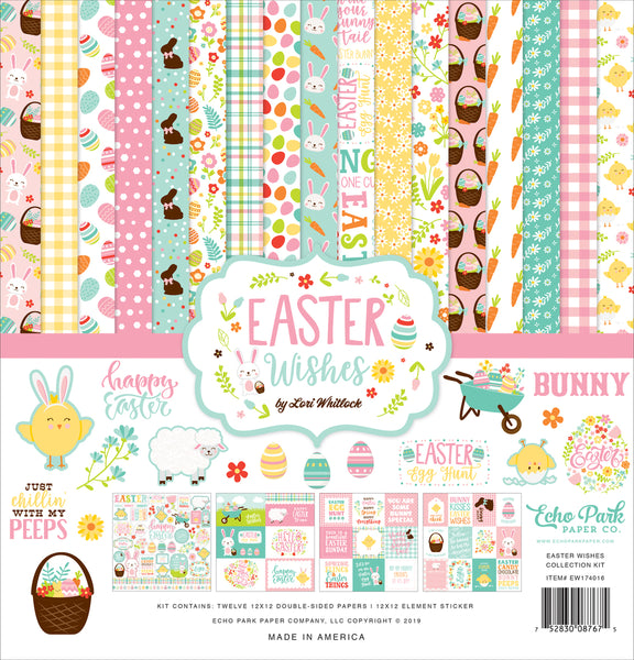 New! Echo Park Paper EASTER WISHES 12x12 Scrapbook Paper Collection Kit