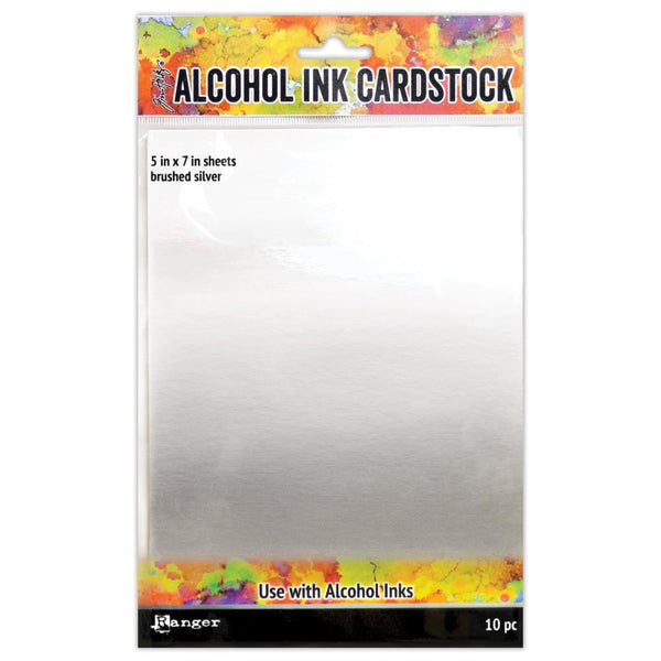 New! Ranger Tim Holtz 5x7 Alcohol Ink Cardstock - Brushed Silver