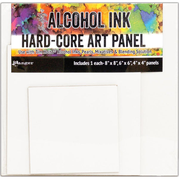 New! Ranger Tim Holtz Alcohol Ink Hard Core Art Panel - Pack of 3 Squares (1 each 8x8, 6x6, 4x4)