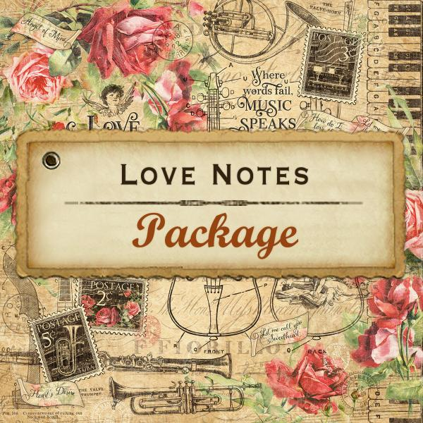 New! Graphic 45 LOVE NOTES Complete Package - Paper Kit, Patterns/Solids Pad, 8x8 Pad, Chipboard, Stickers, Ephemera, Tags & Pockets