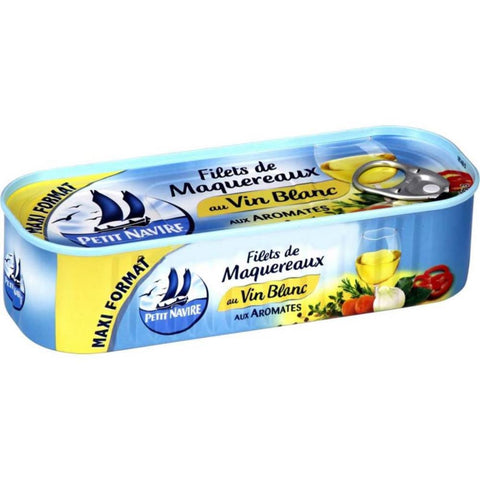 Petit Navire White Wine Mackerel Fillets 235g Filets de Maquereaux au Vin Blanc