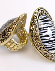 Antique Zebra Print Fashion Ring