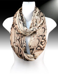 Beautiful Brown Snake Print Infinity Scarf