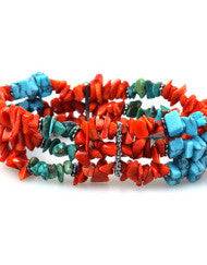 Beautifully Beaded Orange & Turquoise Bracelet