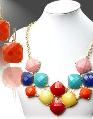 Carved in Stone Necklace Set-Colorful