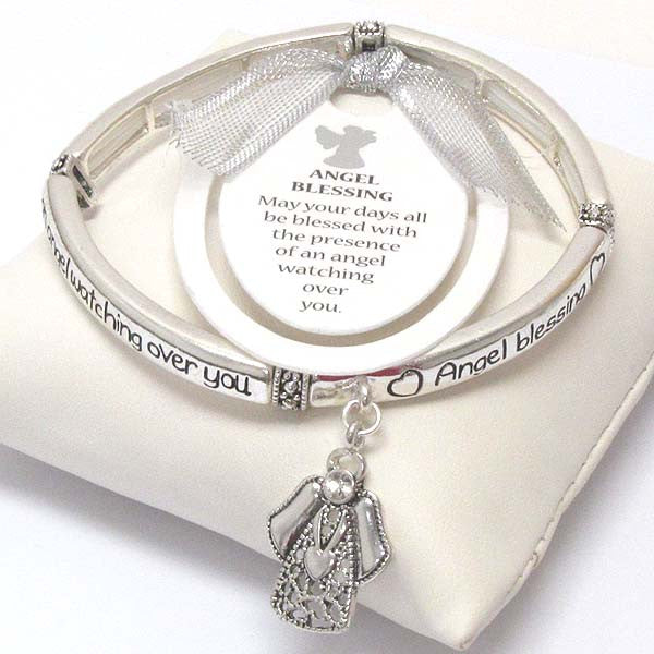 Religious Inspiration Bracelet - Watch Over Me Angel Blessing